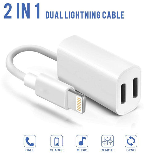 2 in 1 iPhone Dual Lightning Cable Headphone Aux Audio Charge Splitters Data Sync Adapter Cable for iPhone