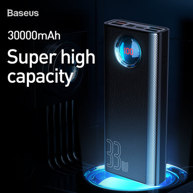 Baseus Amblight Quick Charge &large power digital display power bank 33W  (PD3.0+QC3.0) 30000mAh