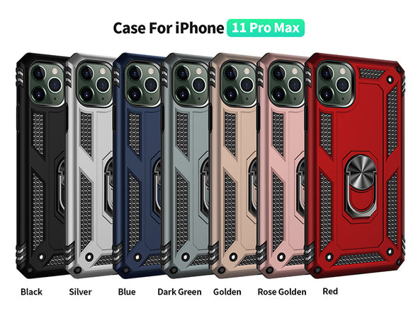 Armor Case For Apple iPhone 5 5S 5C 6 7 8 Plus X XR XS Max SE 2020 iPhone 11 Pro Max With Stand Magnetic Ring Holder Anti-Fall Shockproof Back Cover Casing