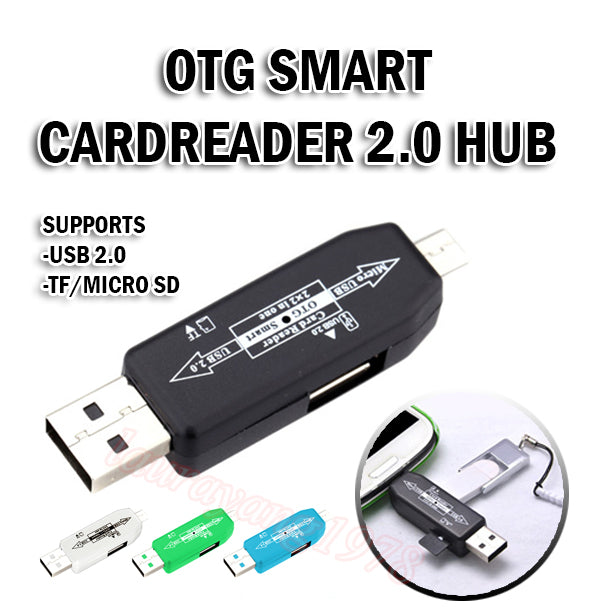 [2 pcs ]OTG Smart Card Reader 2.0 Hub Connection Kit for USB and Micro USB