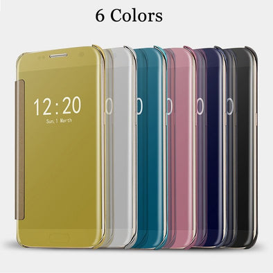 For Samsung  Plating Mirror Full Coverage Protective Case Window View Flip Leather Cover