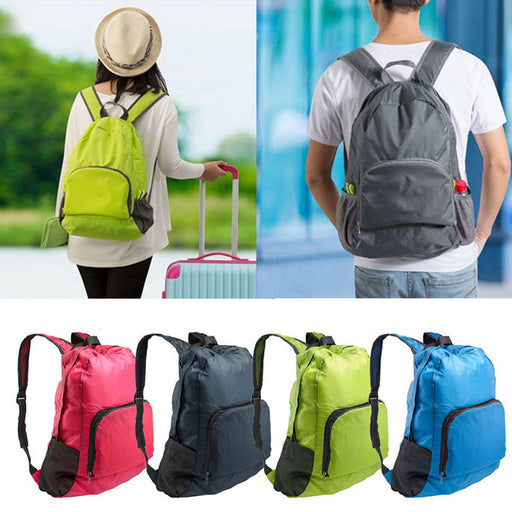 Foldable Nylon Zipper Shoulder Bag Backpack Outdoor Travel Camping Waterproof
