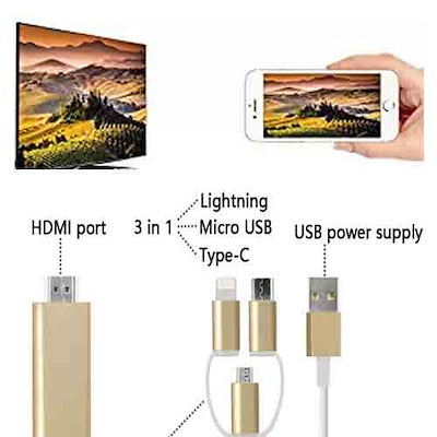 Lightning to HDMI Adapter Lightning MHL to HDMI HD Mirroring cable for iPad iPhone Samsung Smartphon