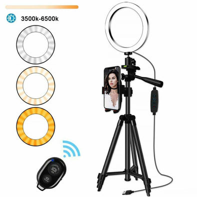 Selfie Ring Light With Tripod Stand LED Lamp Phone Holder Live Stream Youtube