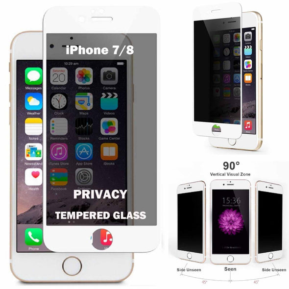 White Privacy Anti-Spy Tempered Glass Screen Protector for iPhone 7PLUS 8PLUS