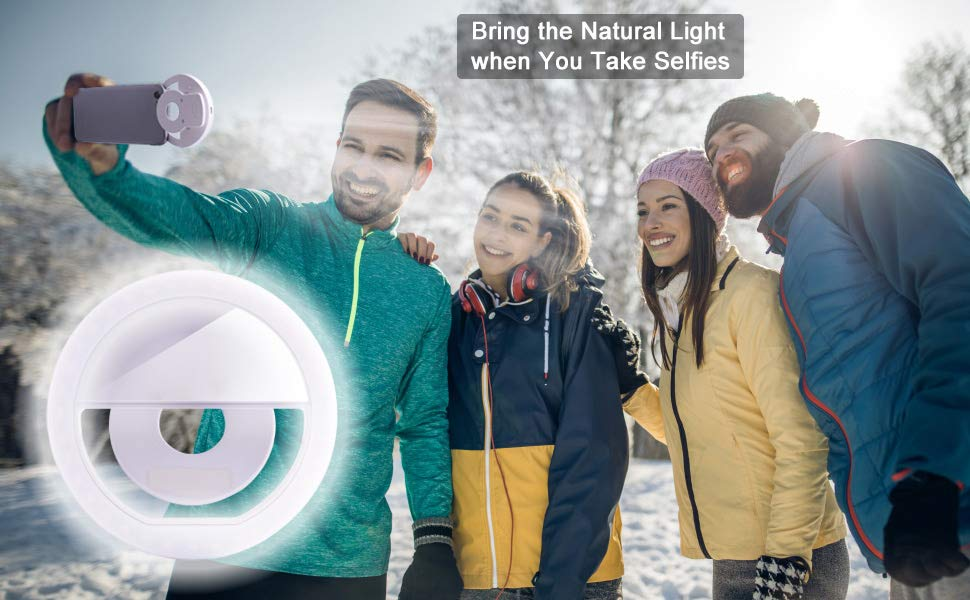 Selfie Ring Light [Rechargeable Battery] with 36 LED for Smart Cell Phone Camera Round Shape Clip On
