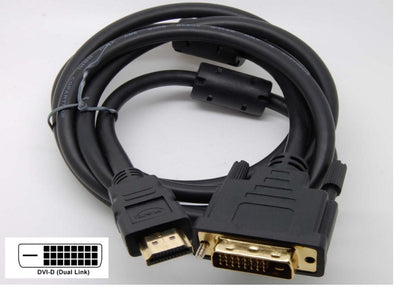 HDMI TO DVI Cable 2M long (with 2 Ferrites!) (24+1) DVI-D DUAL LINK CABLE 24 Pin Cable Cord 1080P
