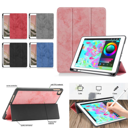 For iPad Pro 12.9 Soft TPU Case With Pencil Holder Slim Stand Cover Pro 11 2018
