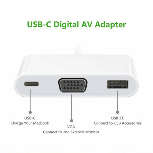 Type C to VGA with 3.0 USB Port and Charging Adapter