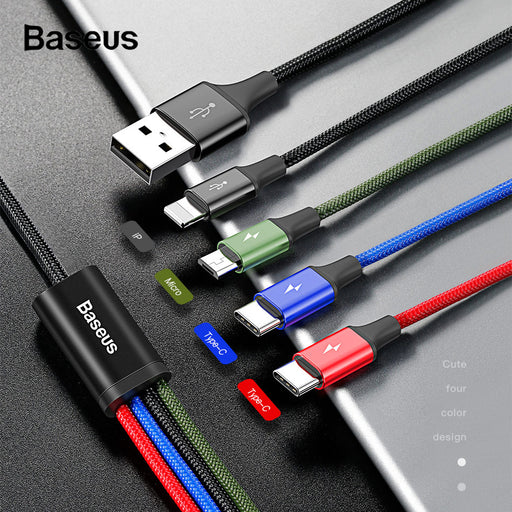 Ready Stock Singapore BASEUS 3.5A 1.2m Lightning 8Pin + Type C + Dual Micro USB 4in1 Data Charge Cable