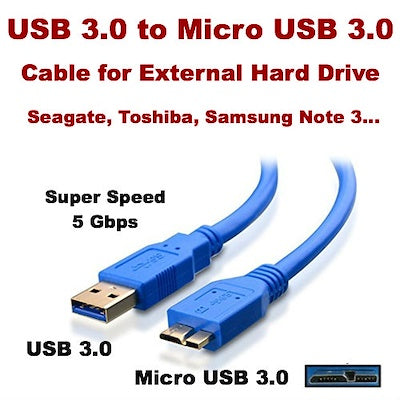 USB 3.0 to Micro USB 3.0 External HDD Hard Drive Disk Cable NOTE 3 Data Transfer Charging 5Gbps