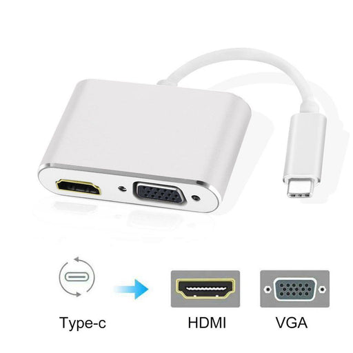 2in1 Type C Hub Aluminium Case USB3.1 Type-C to HDMI VGA Adapter for MacBook