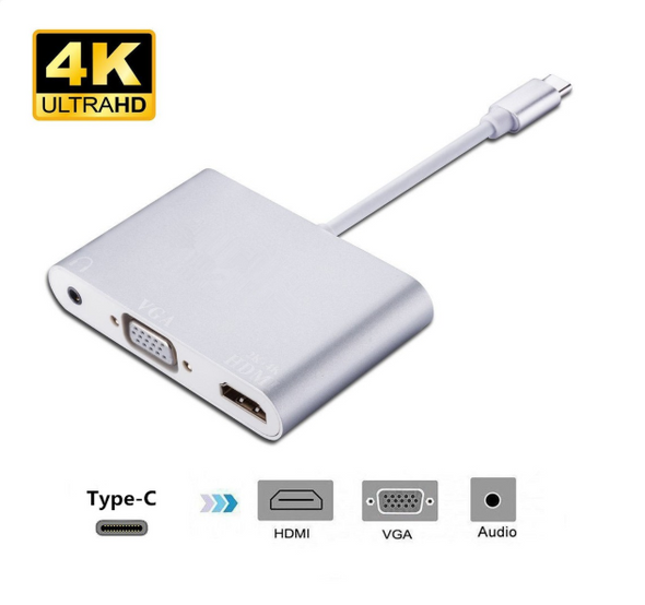 USB C to HDMI 4K VGA with Audio Multi port Adapter, Type C to VGA HDMI Converter