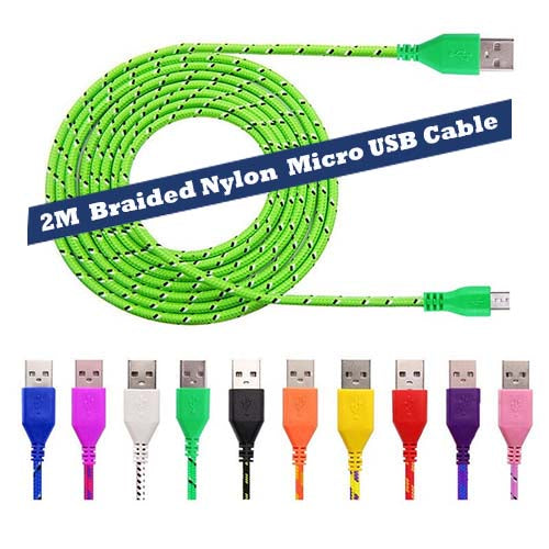 2M Braided Micro USB Data & Sync Charger Cable