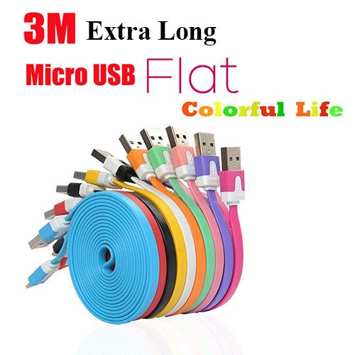 3M Extra Long Micro USB Cable Data Sync Cable for Samsung S6/S7 Android Phone