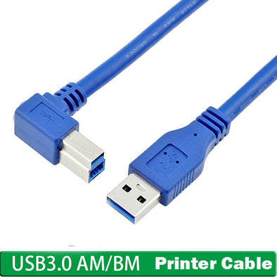 L Shape USB 3.0 Female to Type B  Male Right Angle Plug Printer Cable (1Meter)