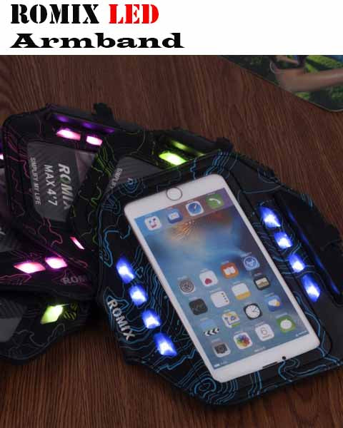 Romix Sports Waist Pouch LED Armband Mask