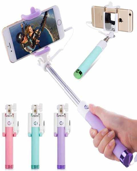 Mini Lightning Wired Foldable Extendable Selfie Stick