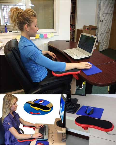25 cm Computer Hand Bracket Table with Mouse Pad N Wrist Coaster Rotatable Arm Holder Computer Table Splint Wrist Brace Keyboard Support Mouse Hand Bracket