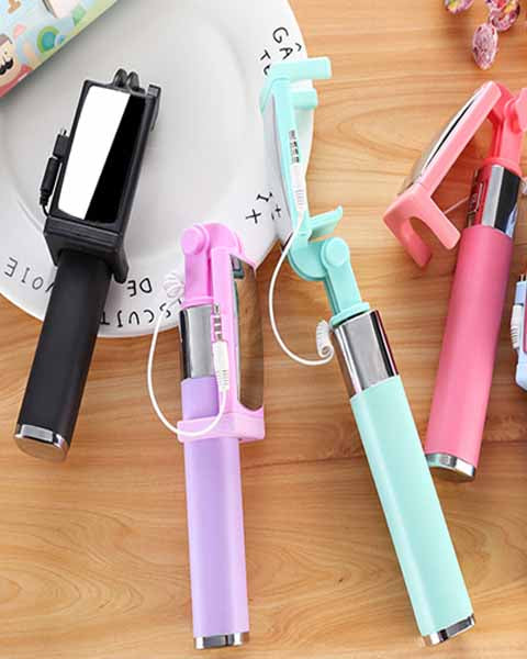 Mini Lightning Wired Foldable Extendable Selfie Stick with Mirror for iPhone Samsung Huawei etc -