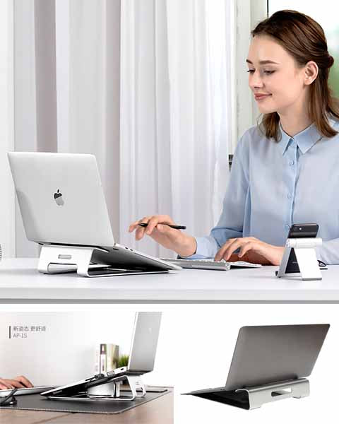 Aluminum Laptop Stand Dock Holder Desk Pad For MacBook Pro Air Tablet Notebook
