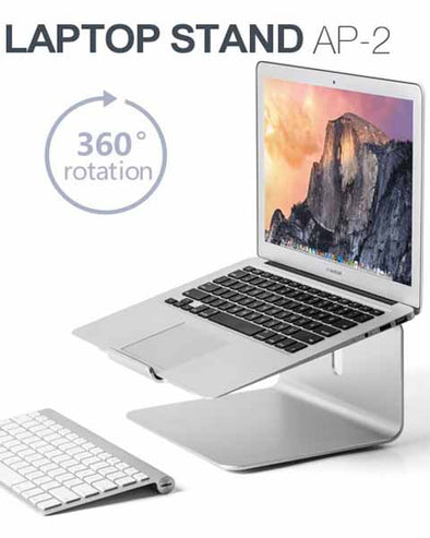 360-Rotating Aluminum Alloy Laptop Desktop Mount Stand for MacBook Notebook