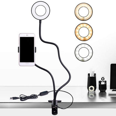 KISSCASE 360 Rotation Desk Lamp Phone Holder LED Desktop Stand Bed Lazy Bracket Mobile Phone Stand Support For iPhone Samsung