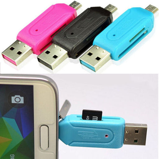 [2pcs ] Micro USB +USB 2.0 OTG Adapter SD T-Flash Memory Card Reader for Smart Phone