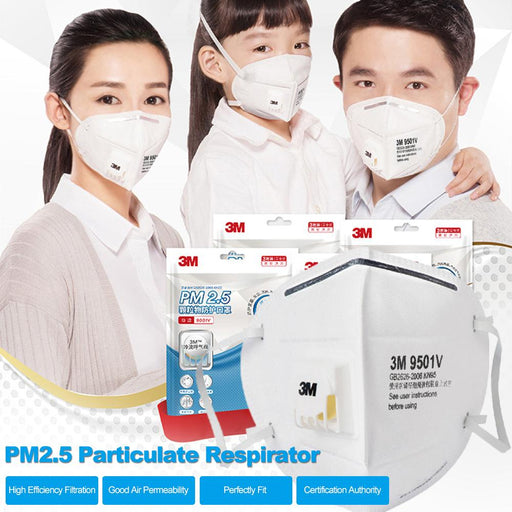 3M 9501v Particulate Respirator KN95 Masks with Breathing Valve Aganist PM2.5 Pollen Dust 25 Pcs Individual Packing