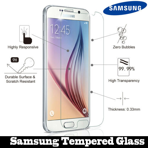 2 pcs High Clear Tempered Glass for Samsung Smartphone