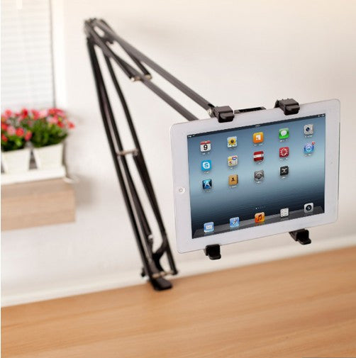 Phone/ Tablet Stand, Lazy Mounting Clamp Cradle Holder with Adjustable Metal Arms