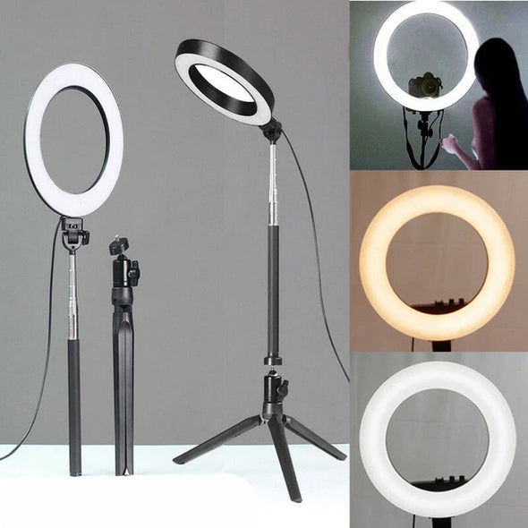 16cm Dimmable Lamp Extended Tripod Desktop stand and Phone holder