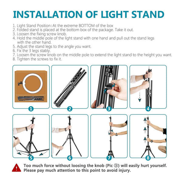 "10 "" (26cm ) LED Studio Camera Ring Light  Tripod Stand Selfie Light (Max 2.1Meter)"