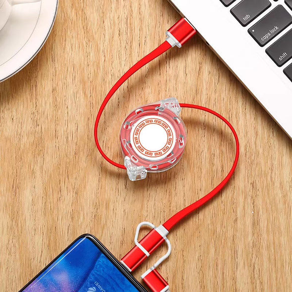3in1 Retractable USB Charging Cable For Lightning / Type-C / Micro USB