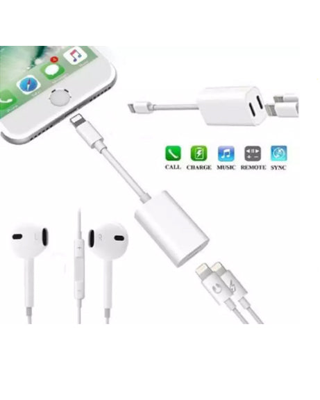 iPhone Adapter Splitter 2 in 1 Dual Lightning Audio Charge Cable