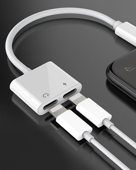 2 in1 Dual Lightning Headphones Jack Audio Adapter for iPhone 7 8 PLUS X XS iOS 11.4 Charger (Headphone Adapter+Charger)
