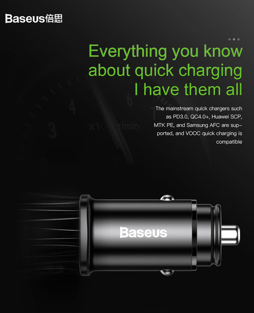 ReadyStock Singapore BASEUS PPS QC4.0 PD3.0 Smart Car Charger Type-C PD+USB Quick Charge Car Adapter
