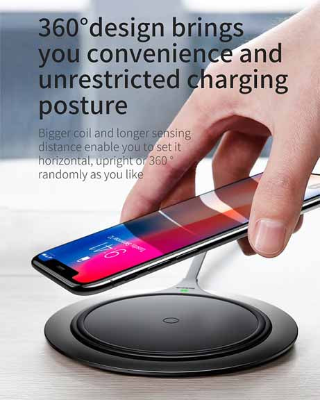 Baseus Metal Qi Wireless Charger for iPhone 8/X Multifunction Fast Wireless Charging for Samsung