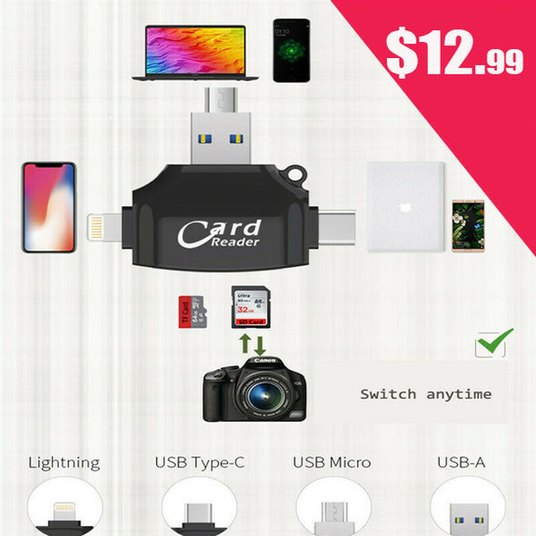 4in 1 Card Reader for SD and TF Card Memory