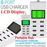 #C Universal 8/10 Port Travel Portable USB Hub For Desktop Laptop Mobile Ipad Wall Charger Multi Port Rapid Adapter UK/EU/US Plug LCD Display