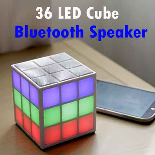 Cube Bluetooth 4.0 Speaker with 36 Music-Syncing LED Lights