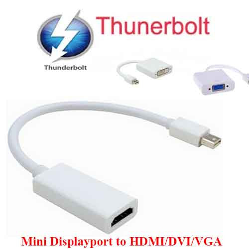 Mini Display Port DisplayPort DP MiniDP MiniDisplayPort Thunderbolt to HDMI DVI VGA SVGA Cable Adapter Apple MacBook Pro Air Mac Mini Retina 13 iMac 5K 2014
