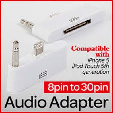 8 to 30 pin Dock 3.5mm Audio Converter Adapter For iPhone 5 5S iPod Touch
