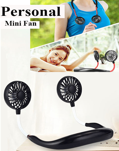 [ 2 pcs ] Hands-free Neck Band Hanging USB Rechargeable Dual Fan