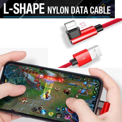For Lightning Android Micro USB Type-c 90 Degree Fast Charging L Bending Data Cable