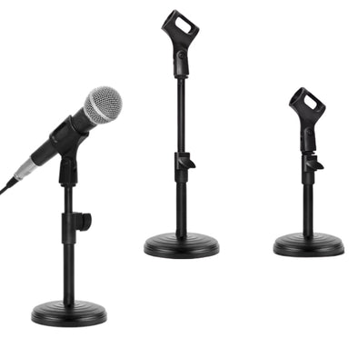 Adjustable Desktop Table Mic Stand with Round Base for Live or Zoom Meeting