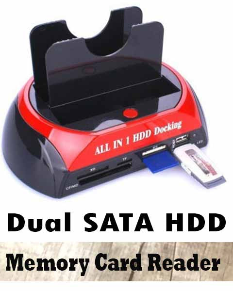 Dual SATA Hard Drive Dock Memory Card Reader All-in-1 USB 2.0 HDD Docking Station for 2.5 3.5 Size HDD