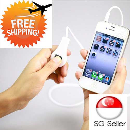 Wired Shutter Release Camera Remote Control Cable for Iphone 5 + Ipad 4 - Black + White