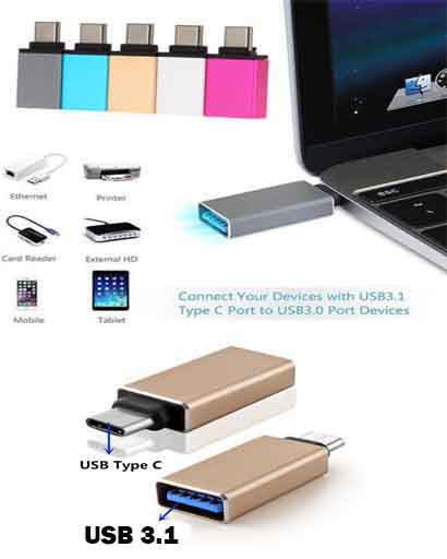 USB 3.0 Female to USB 3.1 Type C Male Converter USB-C OTG Adapter Aluminium A