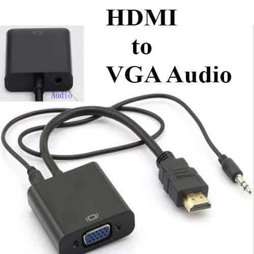 HDMI Male to VGA Female Video Audio Cable Adapter Converter For HDTV XBOX PC